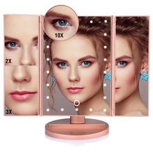 Touch Screen 22 LED Lights Makeup Mirror Tabletop Makeup 3 Folding Vanity Mirror 1X/2X/3X/10X Magnifying Cosmetic Mirrors Gift tri fold adjustable 24 led lights dimmable mirror 1x 2x 3x magnifying make up mirror bathroom tabletop mirror for beauty makeup
