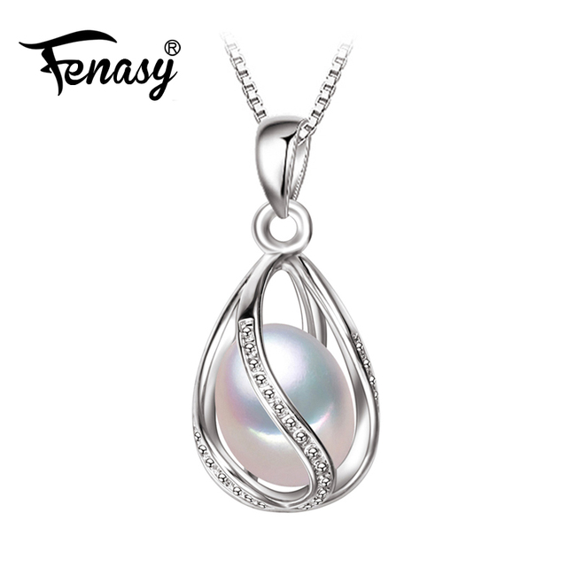 Fenasy pearl jewelrynatural pearl pendant cage necklace party fenasy pearl jewelrynatural pearl pendant cage necklace party fashion style freshwater pearl silver necklace aloadofball Images
