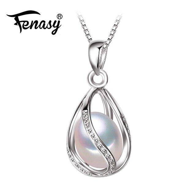 Fenasy pérola jóias, 100% natural pearl pendant necklace, moda estilo natural de água doce pérola colar de pingente de prata, presente caixa