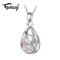 FENNEY Pearl Jewelry 100 Natural Pearl Pendant Necklace Fashion Style Natural Freshwater Pearl Silver Necklace Pendant