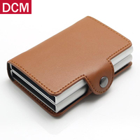 Metal Men business Card Holder RFID Aluminium Credit Card Holder With RFID Blocking Pu Leather Mini Magic Wallet