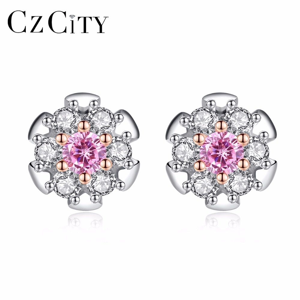 CZCITY Real 925 Sterling Silver Pink Zircon Stud Flower Earrings for Women Girls Sterling-Silver-Jewelry White & Gold Plated pair of zircon gold plated stud earrings