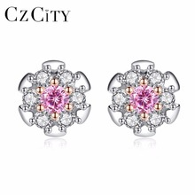 CZCITY Real 925 Sterling Silver Pink Zircon Stud Flower Earrings for Women Girls Sterling-Silver-Jewelry White & Gold Plated