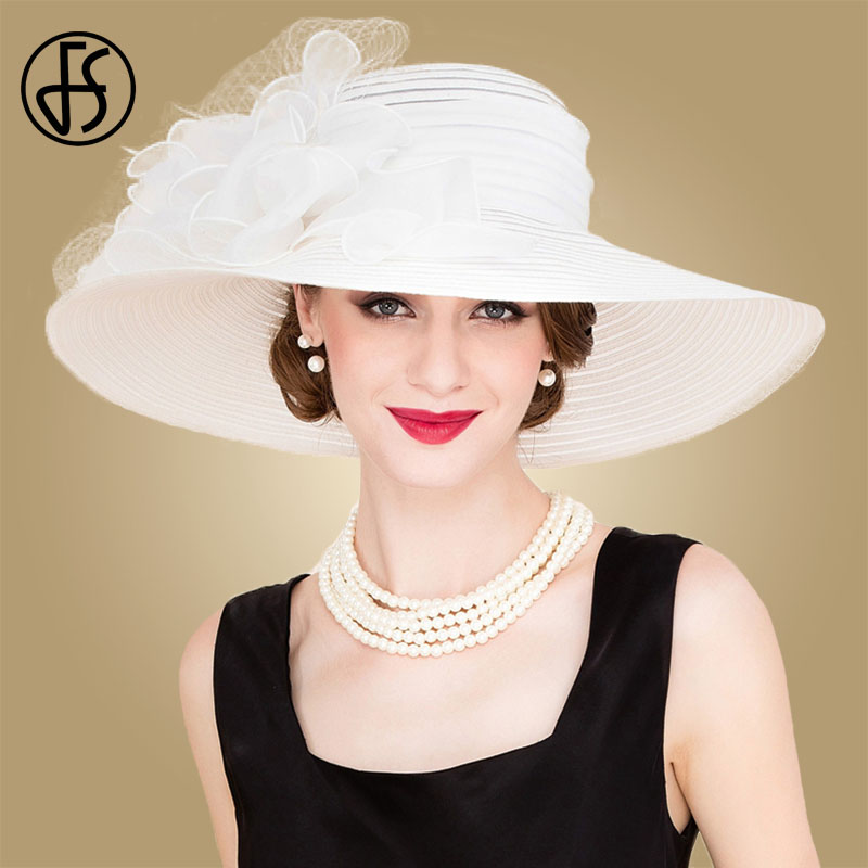FS Black White Elegant Women Church Hats For Ladies Summer Flowers Large Brim Organza Hat Beach Sun Kentucky Derby Hat Fedora