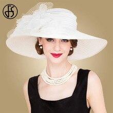 FS שחור לבן אלגנטי נשים כנסיית כובעי גבירותיי קיץ פרחי אורגנזה אפס מקום גדול כובע חוף שמש קנטאקי דרבי כובע פדורה
