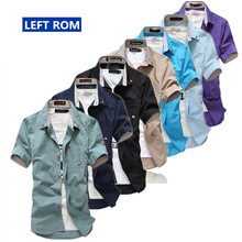 summer time 2017 new Men's style boutique pure colour embroidery slim leisure quick sleeves shirts / Male cotton Long sleeve shirts