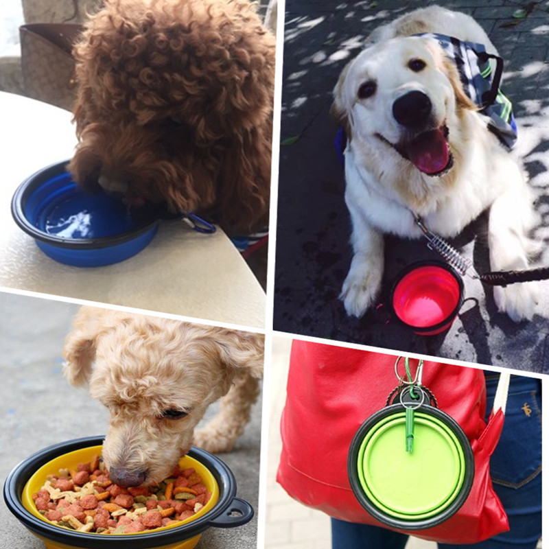 Collapsible Silicone Pet Food Bowl Portable Outdoor Travel Dog Food Container Water Drinking Bowl Dish Pet Feeding Accessories 12