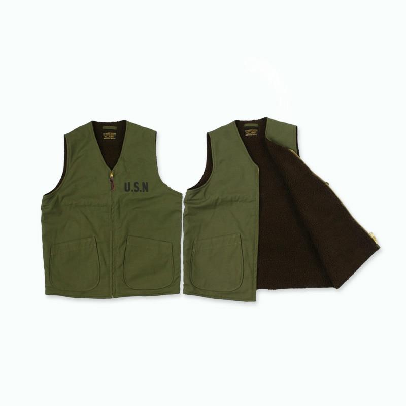 WW2 USN Mens Navy Fleece Vest Vintage Thick Winter Wool Waistcoat American Casual Woolen Sleeveless Jacket Military Uniform XL