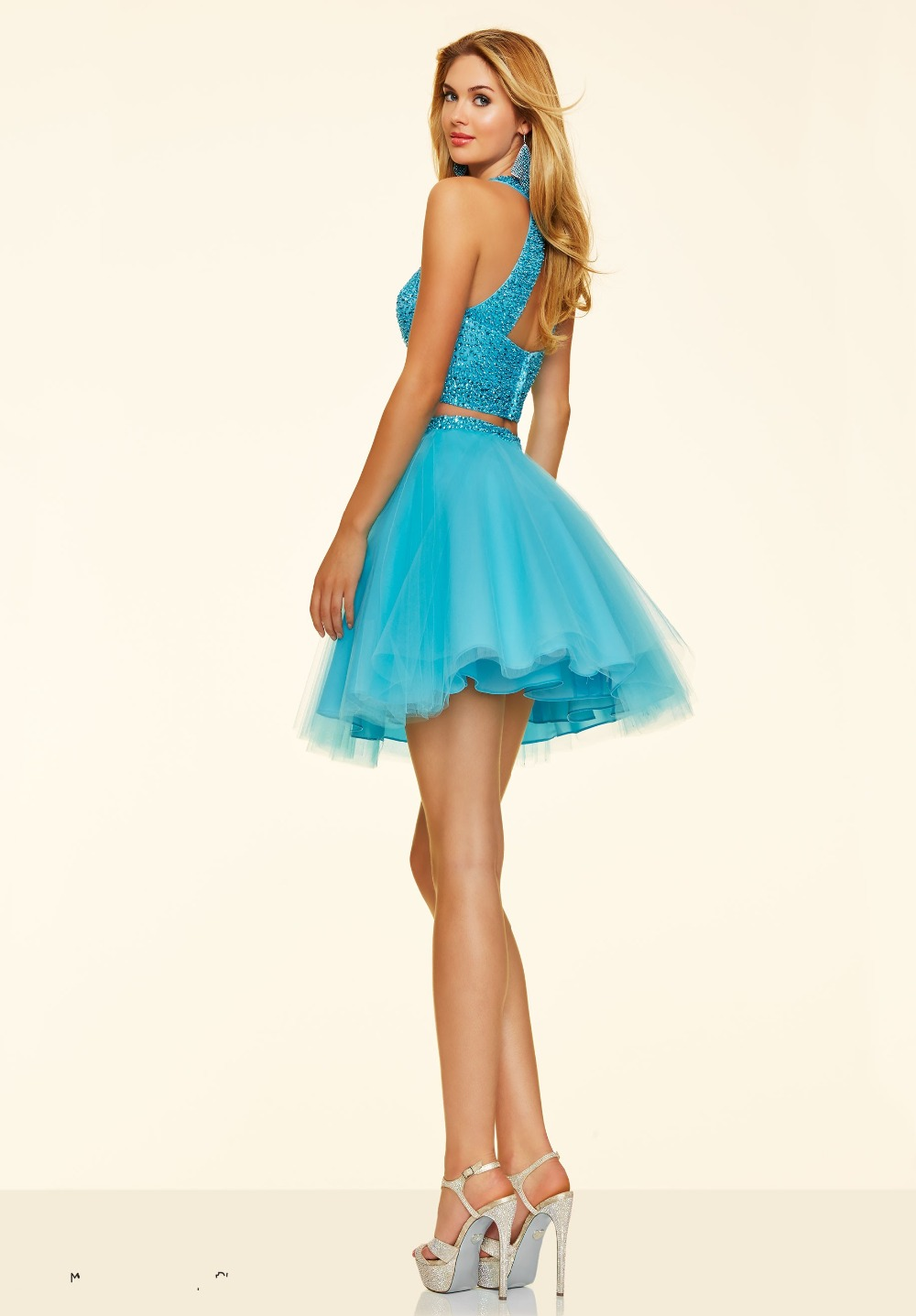 Elegant Short 2 Pieces Prom Dress Pretty Peach Color Beaded Sexy ...