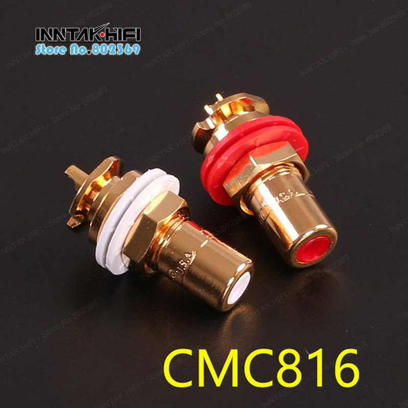 Liberal Special Offer !!! 4pcs/lot U.s. Cmc 816 Ofc Gold-plated Rca Socket / Rca Plug Connector