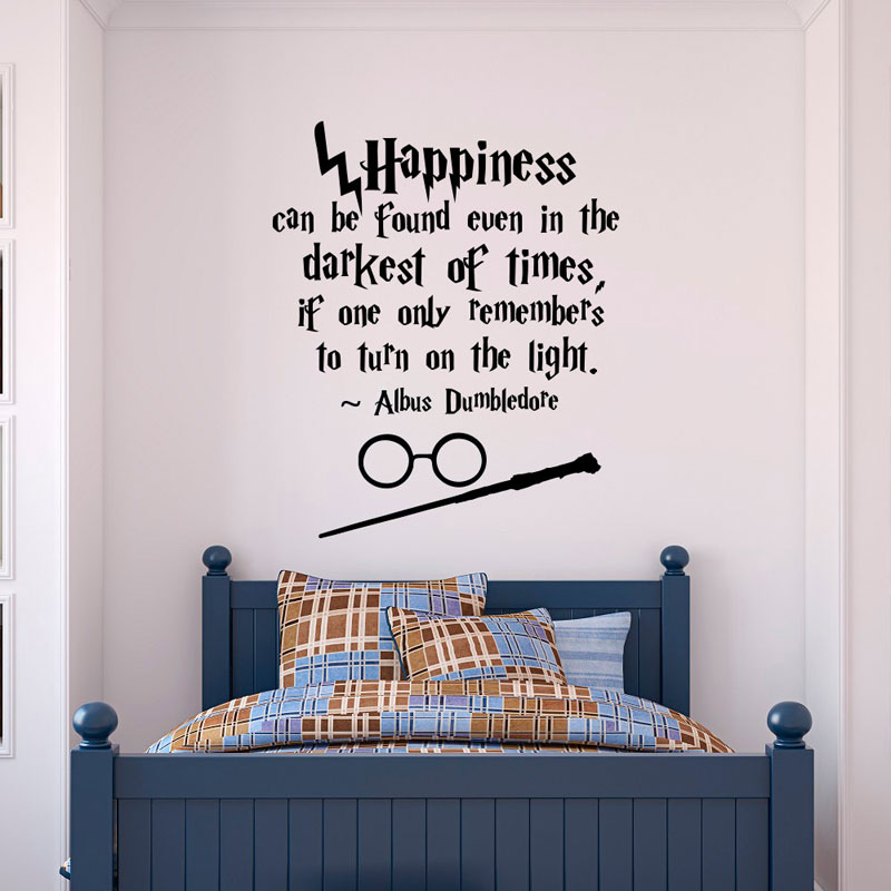 Harry Potter Wall Decal Quote Happiness Can Be Found Even- Hogwarts Wall Decal Vinyl Sticker Nursery Teens Kids Room Decor HP05