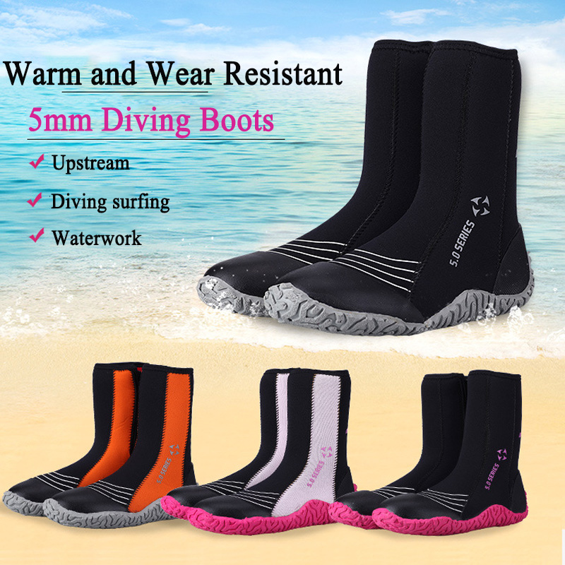 Bottes de plongée 5mm néoprène eau chaussettes femmes/hommes Sports nautiques natation palmes surf bottes pour plage natation chaussures de plongée en apnée