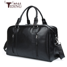 TIDING Luxury Genuine Cowhide Leather Men Handbags Duffle Bag Fashion Shoulder Bag Travel Laptop Crossbody Bag 2017 New