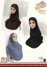 100% modal cotton big size twinset hijab solid color two pieces hejab islamic plain turban cap