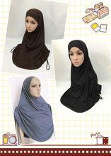 100% modale del cotone grande formato twinset hijab di colore solido due pezzi hejab islamico pianura tappo turbante