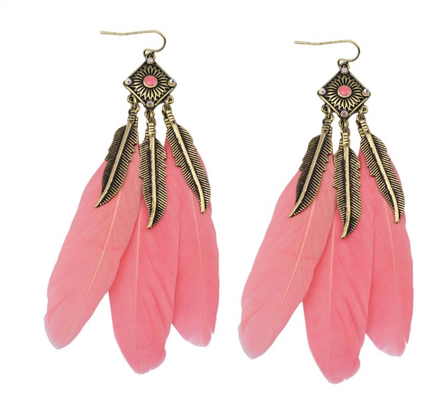 Vintage Bronze Leaf Blue Black Pink Feather Earrings For Women New Charming Ethnic Jewelry Dangling