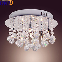 IWHD Round Modern LED Crystal Ceiling Lamp Home Lighting Living Room Lights LED Ceiling Light Fixtures Lustres De Cristal