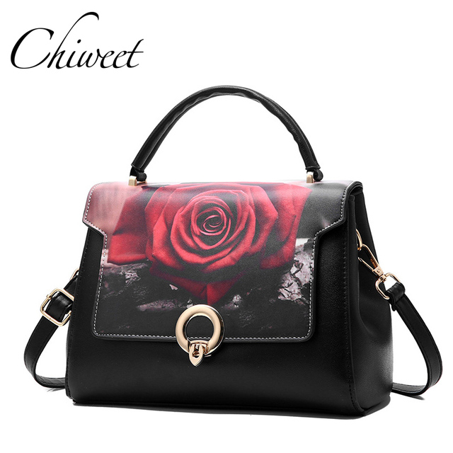 17f4ec35ea5 Designer Handbags Women Red Rose Floral Print Bag Brand Vintage Color Block Tote  Bag Female PU Leather Shoulder Messenger Bags