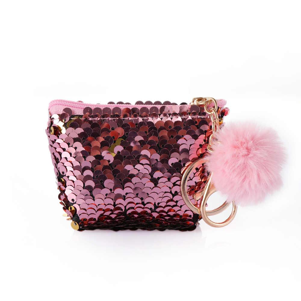 1 pc Brilhante Sereia Sequin Chaveiro Keychain Forma de Bolsa Linda Bola De Pelúcia Com Zíper Carteira Pequena Bolsa Chaveiro Bolsa Pingente de Jóias