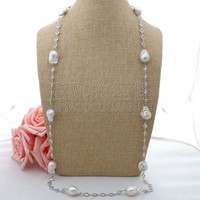 N062906 39'' 16x21MM White Keshi Pearl Chain Necklace