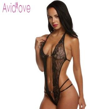 Avidlove valentine's day sexy lingerie hot erotic lace deep v neck teddy sexy erotic underwear lingerie lenceria sexy costume 1