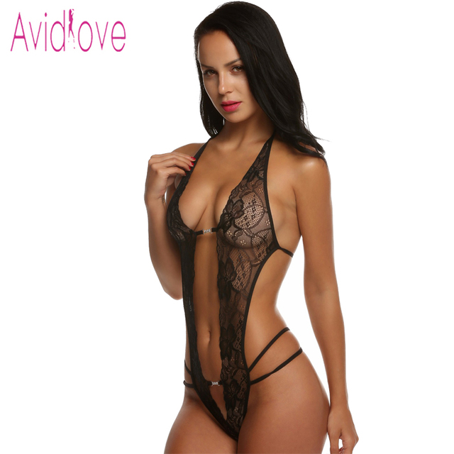 Avidlove valentine's day sexy lingerie hot erotic lace deep v neck teddy sexy erotic underwear lingerie lenceria sexy costume 1