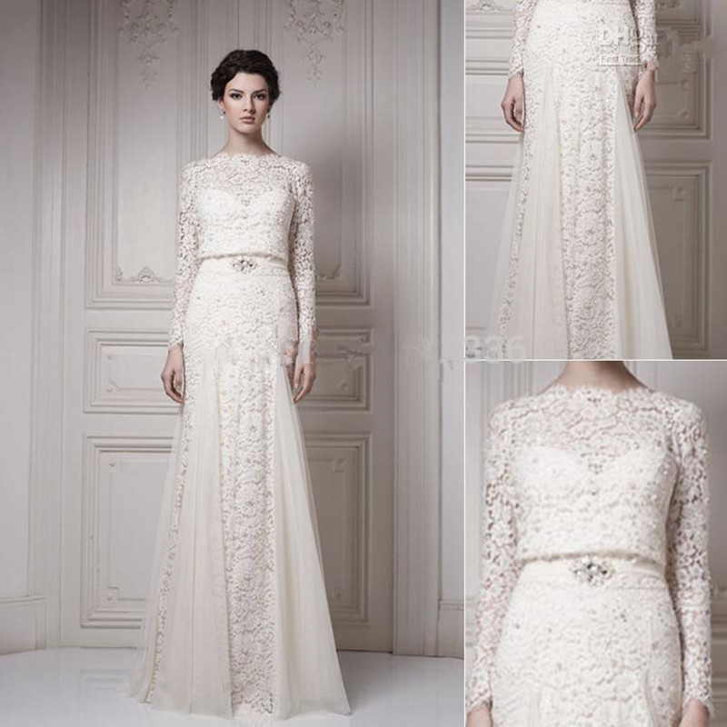 5e141dba4 Romantic Limited 2016 New Vintage Wedding Dresses With Bateau Long Sleeve  Cool Muslim Floor Length Lace Bridal Gowns And Colour