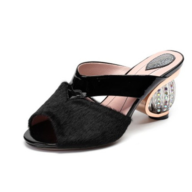 FEDONAS 2019 New Sandals Women Fashion Pumps Quality Horsehair Sexy Sandals Heels Strange Heel Slippers Summer Prom Shoes Woman-in High Heels from Shoes    3