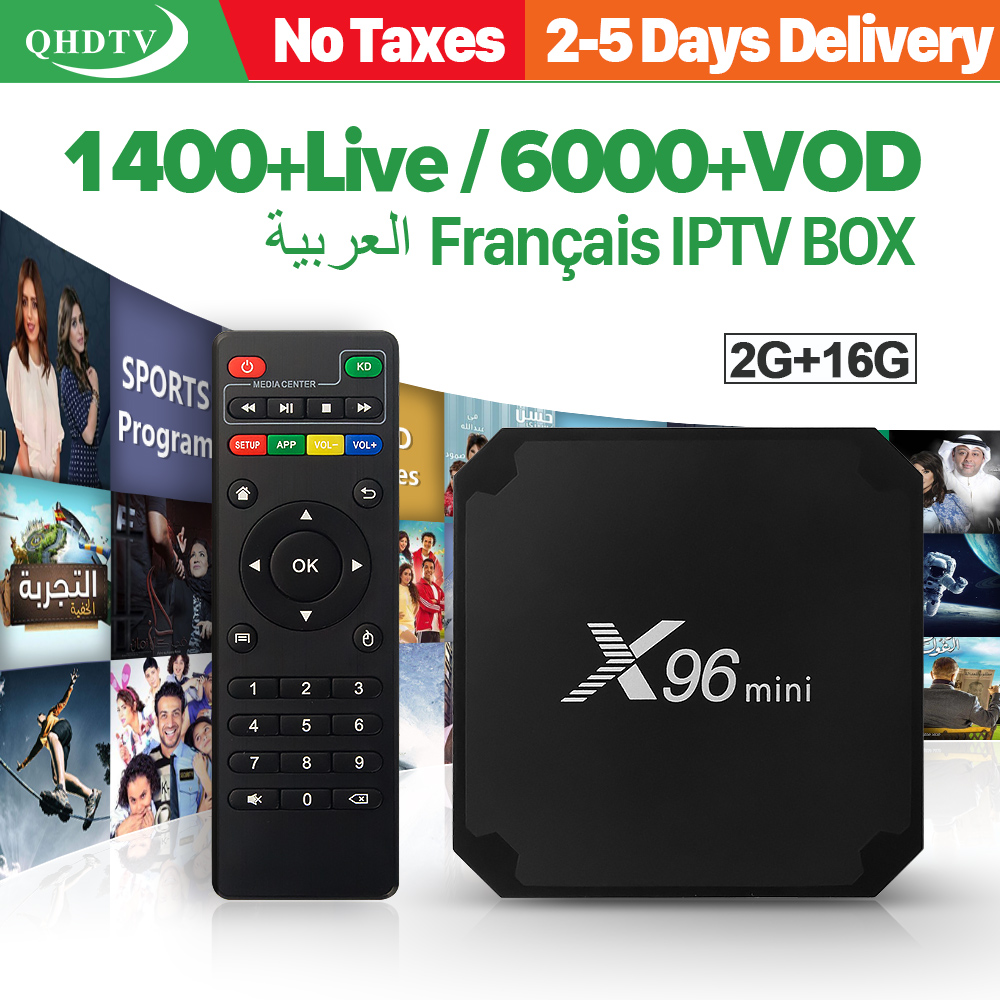 X96 mini IPTV francés Cuadro 2G 16G S905W Android 7.1 qhdtv 1 año suscripción IPTV 1300 + IPTV árabe Bélgica holandés francés TV IP