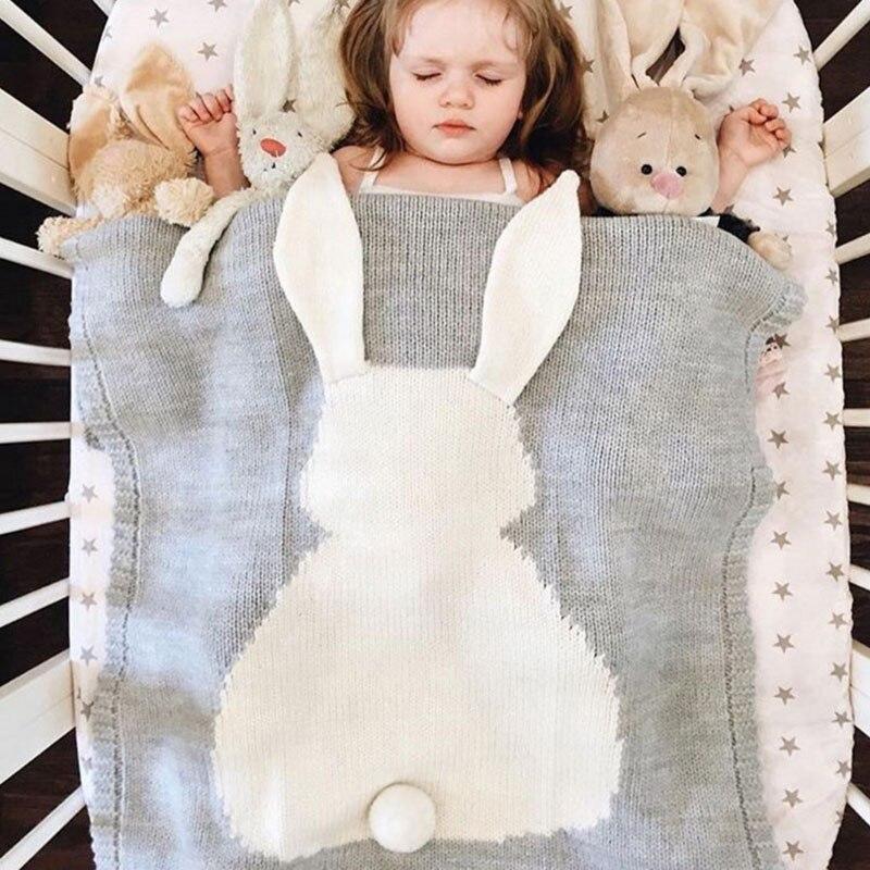 Novo tricô Recém-nascidos cobertor do bebê da criança grande orelha de coelho capa de Malha cobertor esteira de praia bz1