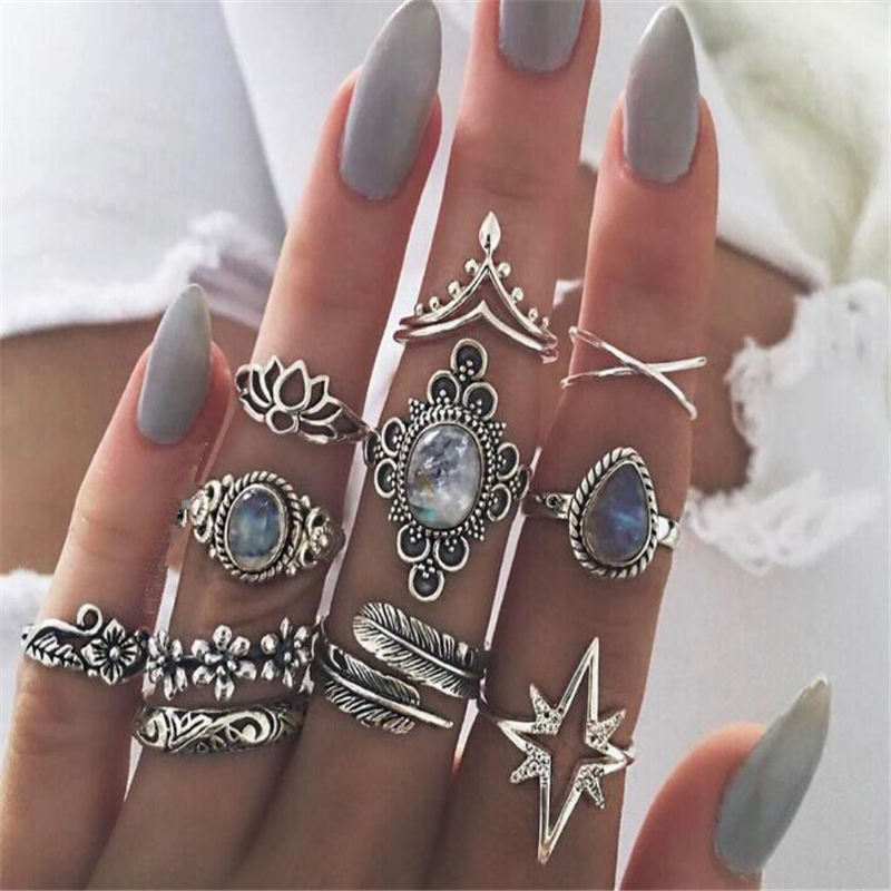 Bohemian Ring Sets For Women Vintage Retro Silver Color Charm Exquisite Crystal Rings Finger Jewelry 2018 New Female Ring