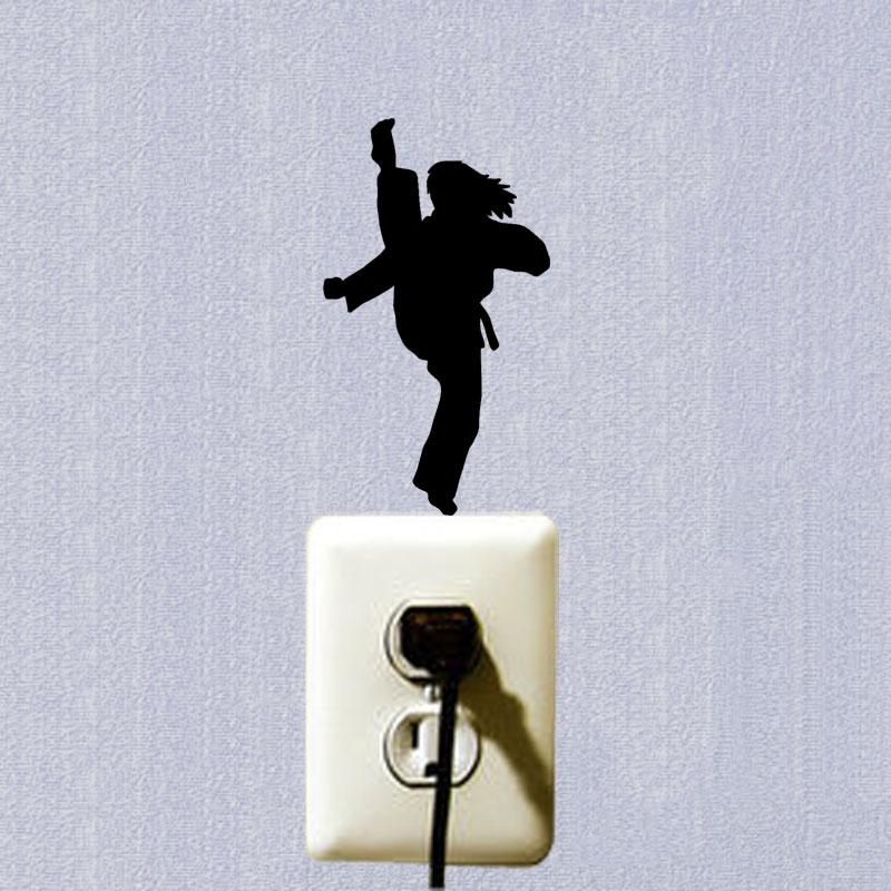 WANGZHIMING новый мультфильм DIY 3d стены стикеры для детей номеров каратэ девочка для наклейки стены спальня home decor гостиная