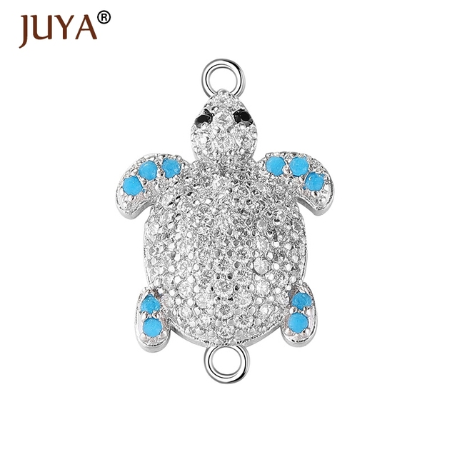 jewelry making supplies gold silver rose gold luxury zircon rhinestone  turtle connector for jewelry making sea turtle pendants 0956cb512de2