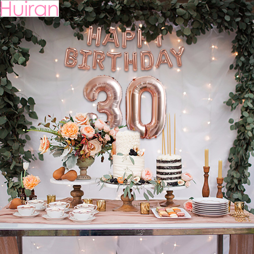 HUIRAN Rose Gold 21st Birthday Balloons Number Foil Adult Decor Baloons Balon Happy Party Supplies