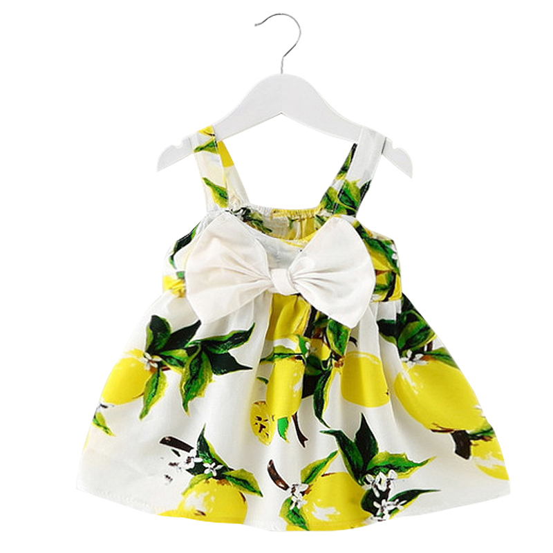 Infant Baby Kids Girl Clothes Sleeveless Bow Sundress Floral Printing 2018 Summer Girls Baby Clothing Cotton Soft vestido bebes