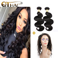 Hot sale 360 Lace Frontal With Bundles Brazilian Body Wave Virgin Human Hair 360 Lace Frontal Closure Queen Products Baby Hair