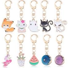 2019 New Cute Cat Pompom Keychains For Women Girls Handmade Woven Shoes Faux Rabbit Fur Kitten Key Chains Fluffy Car Rings