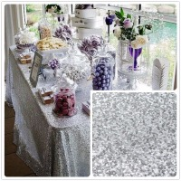 Wholesale 10PCS Silver Sequin Tablecloth Wedding Cake Tablecloth Rectangle Sequin Table for Wedding Decoration90x156inch