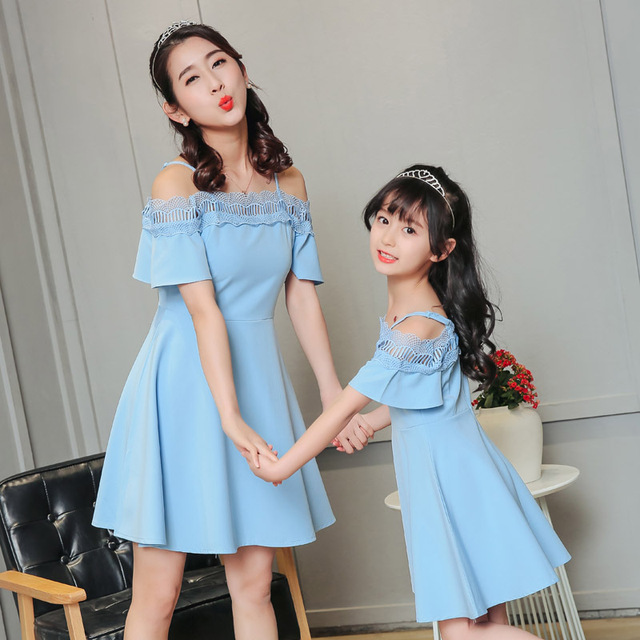 971f980c104b4 Maman maman et fille robe vêtements de mariage dentelle fête robe de soirée  élégante mère fille