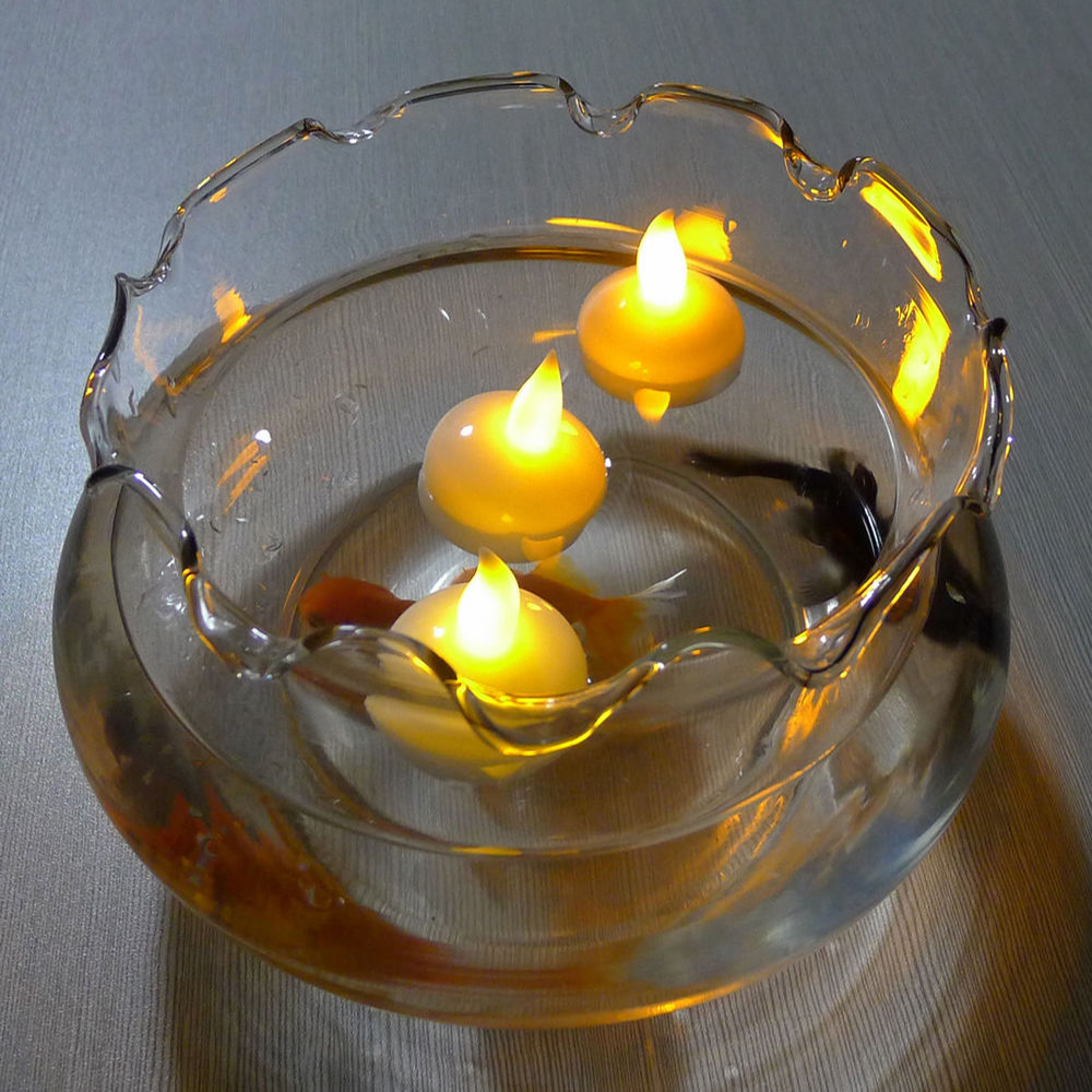 12 pcs water sensor led flickering flameless floating candle waterproof tealight for bath spa pray party