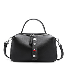 New women's bag leather Korean version of the wild top layer leather soft leather pillow bag shoulder Messenger bag women women s new korean version of the color fashion leather shoulder bag trend women s new version of the color leather fashion shou