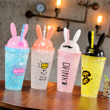 Creative Cartoon Plastic Water Bottle Fashion Cute Bunny Ears Straws I