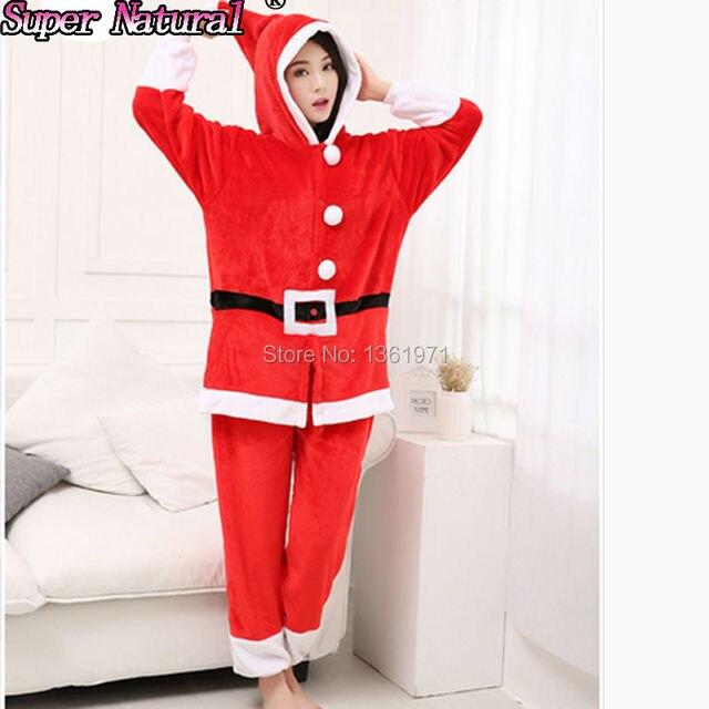 HKSNG Высокое качество зимние для женщин взрослых Рождество Санта Клаус  KigurumI пижамы комбинезоны косплэй пижамы с 669366465a7a3