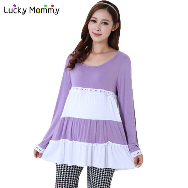 Fashion Long-sleeved Striped Cotton Maternity Shirts Blouses for Pregnant Women Breastfeeding Clothes Nursing Top Maternity Tops