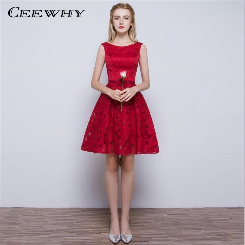 CEEWHY Double-Shoulder O-Neck Special Occasion Sexy Lace   Dress   Burgundy Short   Cocktail     Dress   Party   Dress   Vestido de Festa Curto