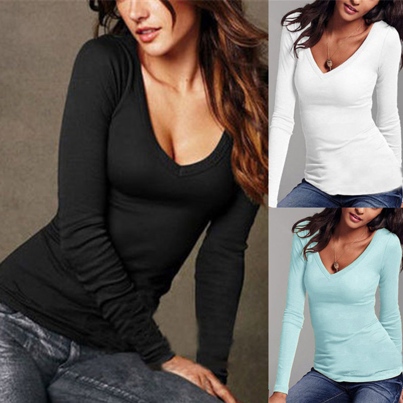 Sexy Women Long Sleeve T-shirt V-neck Slim Fit Warm Autumn Spring Basic T-shirts Tops KNG88