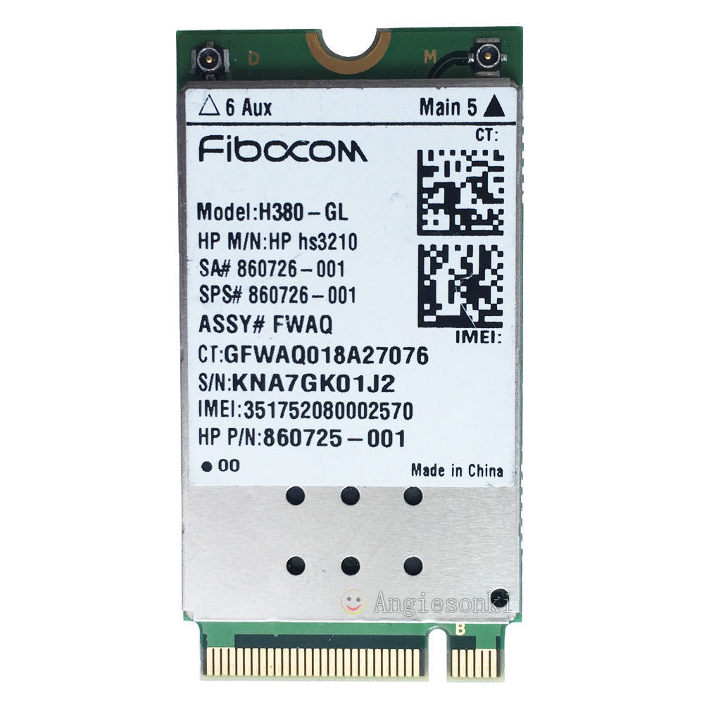 WWAN Card H380-GL HSPA+ Mobile Module M.2 860726-001 for <font><b>HP</b></font> ZBook 17 / 15 / 15u EliteBook 840 / <font><b>820</b></font> G4 <font><b>G3</b></font> FIBOCOM <font><b>HP</b></font> hs3210 image