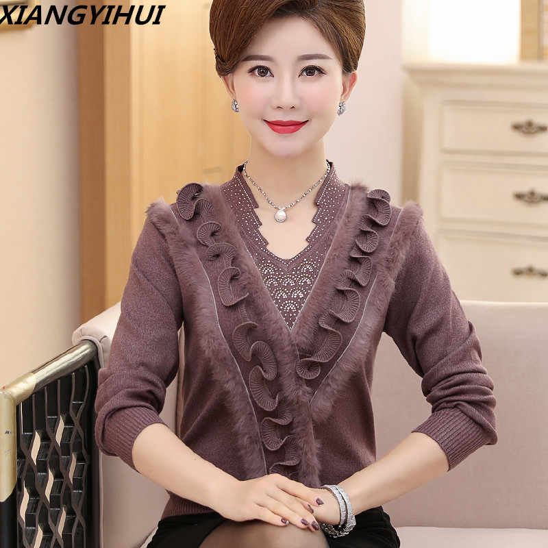 823450697582 2018 Cashmere Women sweater female woolen plus size embroidering diamond -  studded Christmas fur sweater Old