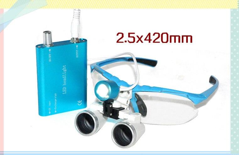 Cheap new blue Dentist Dental Surgical 2.5X420mm Binocular Loupes Optical Glass + Portable LED Head Light LampCheap new blue Dentist Dental Surgical 2.5X420mm Binocular Loupes Optical Glass + Portable LED Head Light Lamp