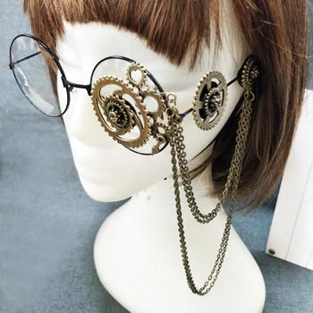 Retro Women Round Steampunk Glasses Frame Ladies Lolita Gears Chain Decoration Eyewear Punk Gothic Cosplay Accessories Halloween
